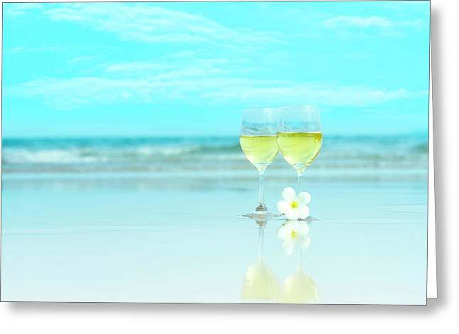 Two glasses of white wine Greeting Card by MotHaiBaPhoto Prints