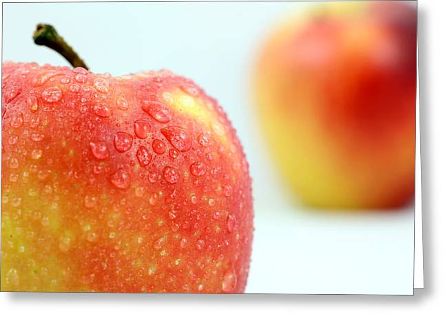 Harvest Art Digital Art Greeting Cards - Two red gala apples Greeting Card by Paul Ge