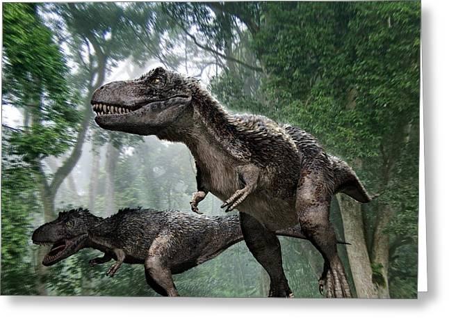 Bipedal Greeting Cards - Tyrannosaurus Rex Dinosaurs Greeting Card by Jose Antonio PeÑas
