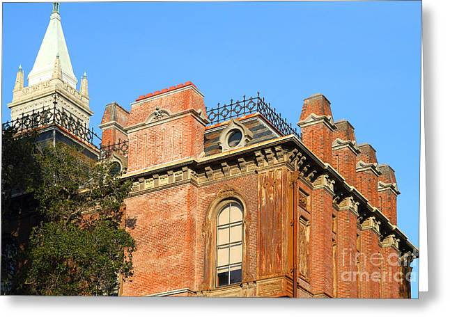 UC Berkeley . South Hall . Oldest Building At UC Berkeley . Built 1873 . The Campanile in The Back Greeting Card by Wingsdomain Art and Photography