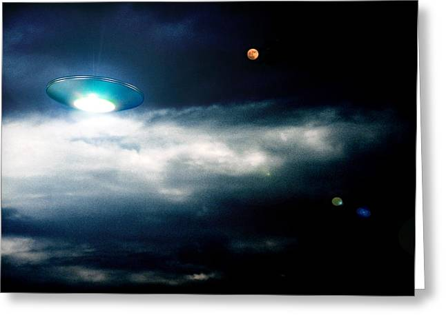Unidentified Greeting Cards - Ufo Greeting Card by Detlev Van Ravenswaay