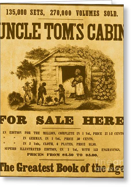 Harriet Beecher Stowe Greeting Cards - Uncle Toms Cabin Poster Greeting Card by Photo Researchers