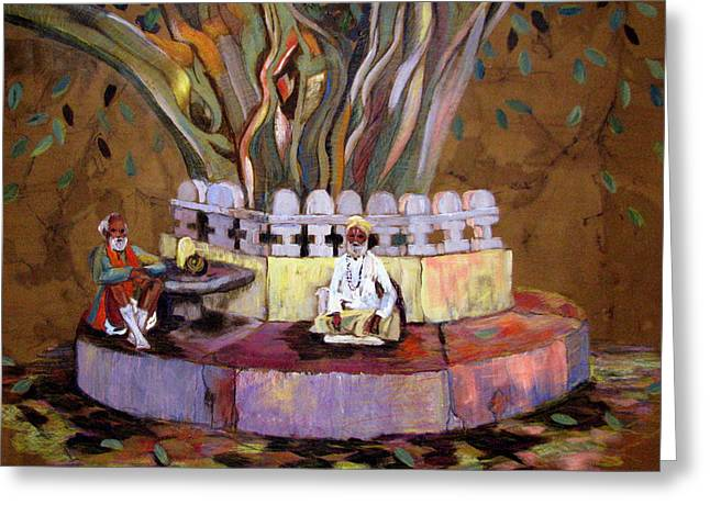 Lingam Greeting Cards - Under the Banyan Tree Greeting Card by Art Nomad Sandra  Hansen
