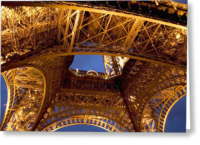 Illuminate Greeting Cards - Under the Eiffel Tower Greeting Card by Carl Purcell