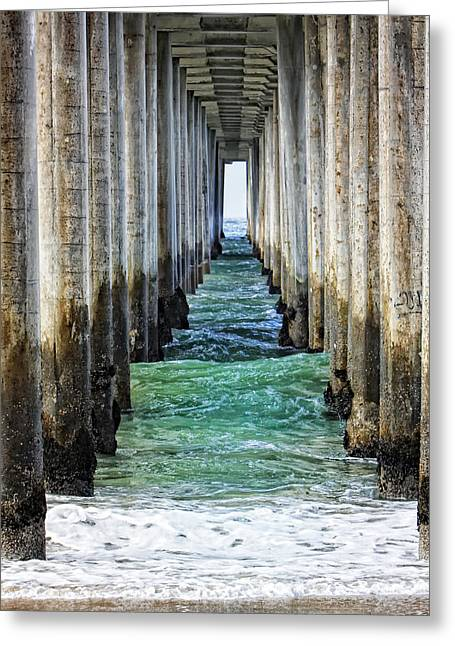 Recently Sold -  - Surf City Greeting Cards - Under the Pier Greeting Card by Rosanne Nitti