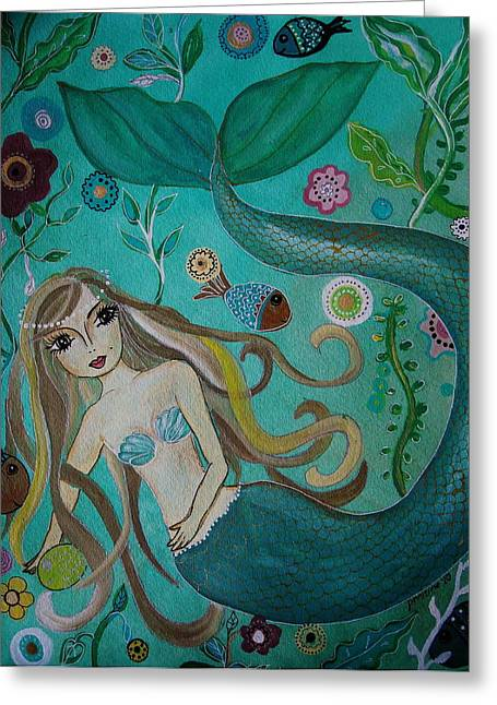 Angel Mermaids Ocean Greeting Cards - Under The Sea Greeting Card by Pristine Cartera Turkus