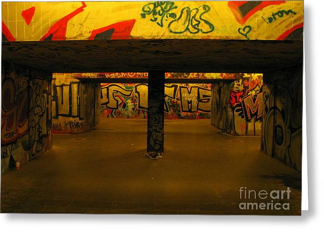 Sweating Photographs Greeting Cards - Underpass Greeting Card by Odon Czintos