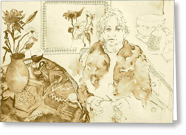 Table Wine Drawings Greeting Cards - Unfinished Conversations Greeting Card by Caroline Stockwell