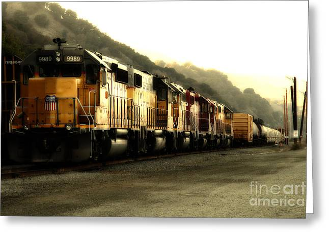 Tanker Train Greeting Cards - Union Pacific Locomotive Trains . 7D10563 Greeting Card by Wingsdomain Art and Photography