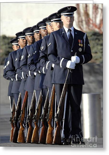 Men Of Honor Photographs Greeting Cards - United States Air Force Honor Guard Greeting Card by Stocktrek Images