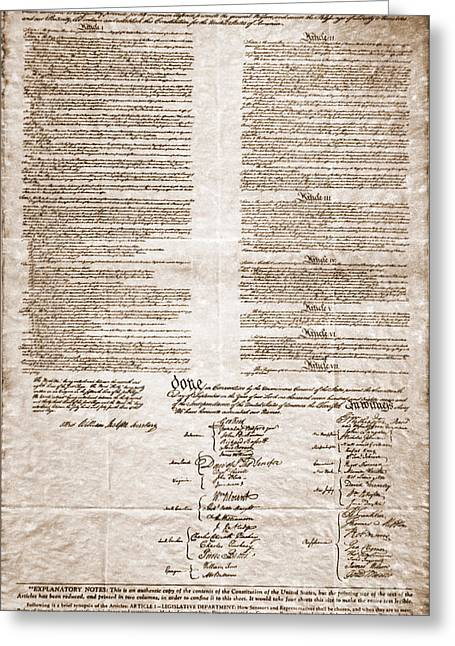 Historical Documents Greeting Cards - United States Constitution Greeting Card by Photo Researchers