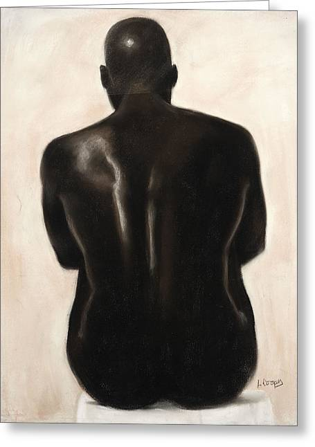 Black Man Pastels Greeting Cards - Untitled Greeting Card by L Cooper