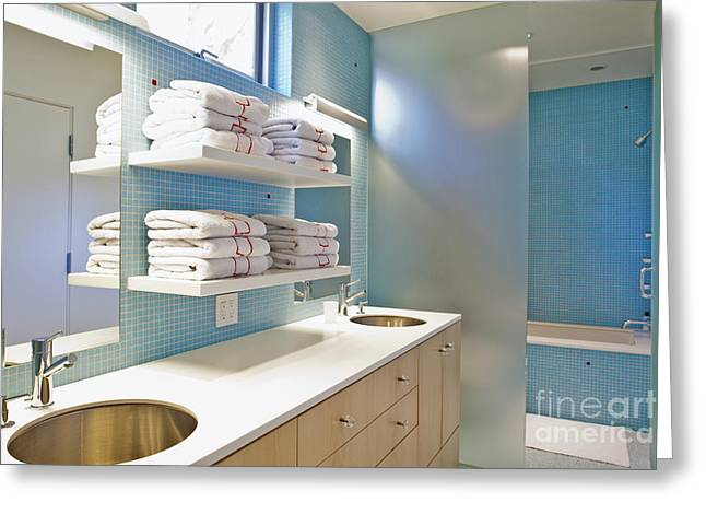 Empty Drawers Greeting Cards - Upscale Bathroom Interior Greeting Card by Inti St. Clair