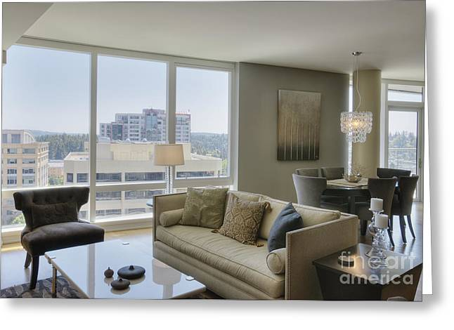 Coffee Table Couch Greeting Cards - Upscale Condo Interior Greeting Card by Andersen Ross