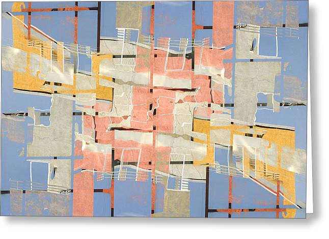 Urban Buildings Greeting Cards - Urban Abstract San Diego Greeting Card by Carol Leigh