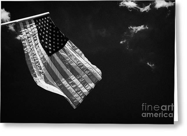 us american flag on flagpole against blue cloudy sky usa Greeting Card by Joe Fox