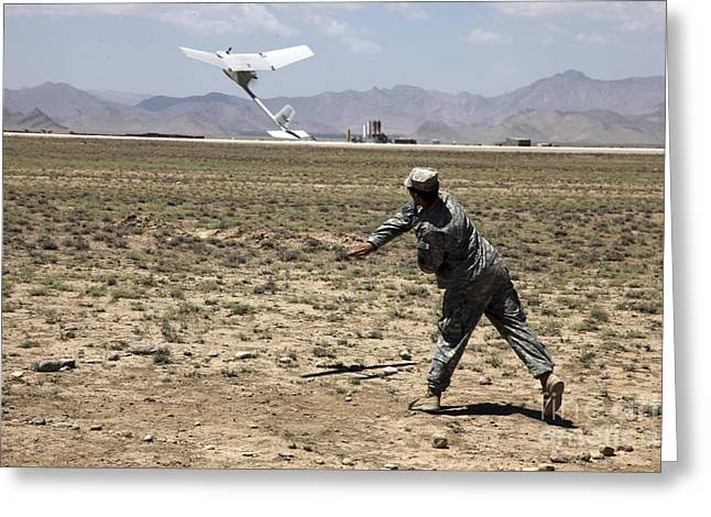 Logar Greeting Cards - U.s. Army Soldier Launches An Rq-11 Greeting Card by Stocktrek Images