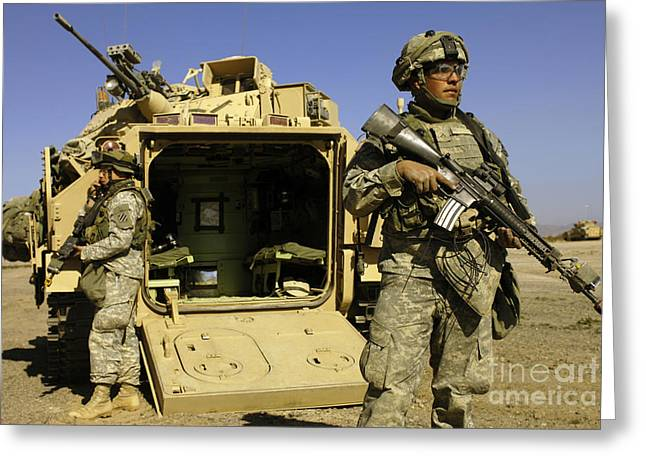 U.s. Army Soldiers Provide Security Greeting Card by Stocktrek Images