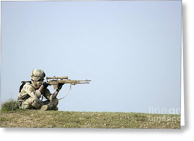 Holding Gun Greeting Cards - Us Army Specialist Scans The Horizon Greeting Card by Stocktrek Images