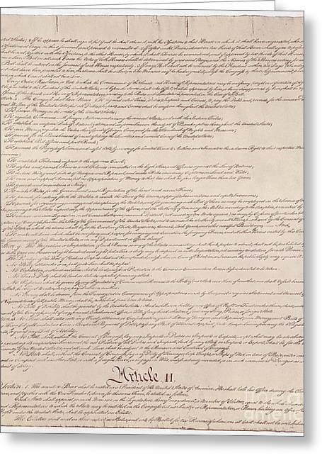 Historical Documents Greeting Cards - Us Constitution Greeting Card by Photo Researchers