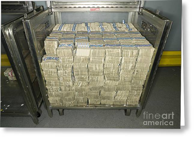 US Dollar Bills in a Bank Cart Greeting Card by Adam Crowley