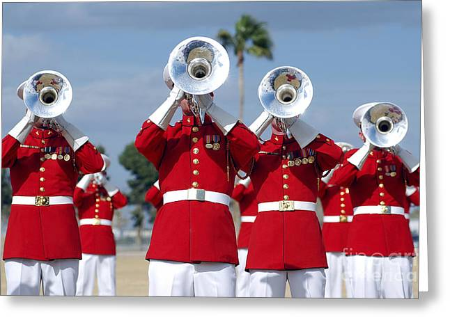 Marching Band Greeting Cards - U.s. Marine Corps Drum And Bugle Corps Greeting Card by Stocktrek Images