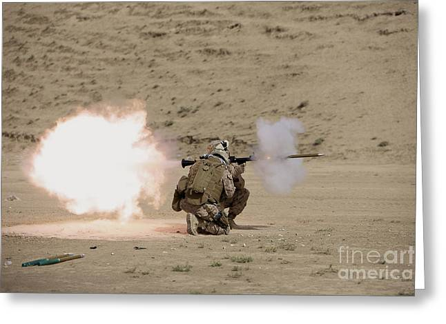 Shoulder-launched Greeting Cards - U.s. Marine Fires A Rpg-7 Grenade Greeting Card by Terry Moore