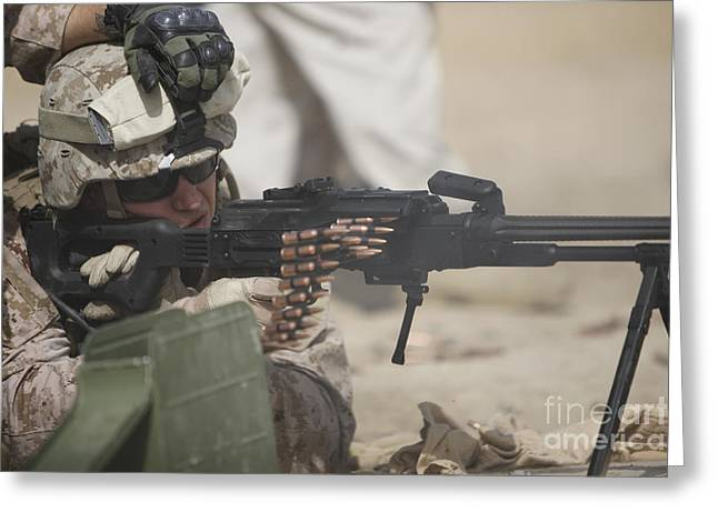 Fed Greeting Cards - U.s. Marine Firing A Pk 7.62mm Machine Greeting Card by Terry Moore