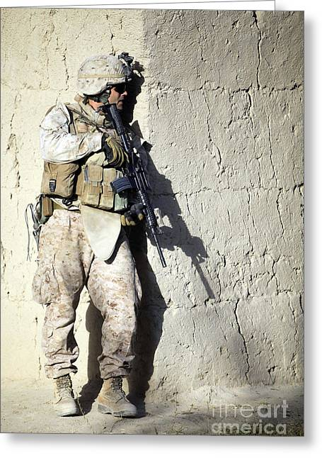 Holding Gun Greeting Cards - U.s. Marine Providing Security Greeting Card by Stocktrek Images