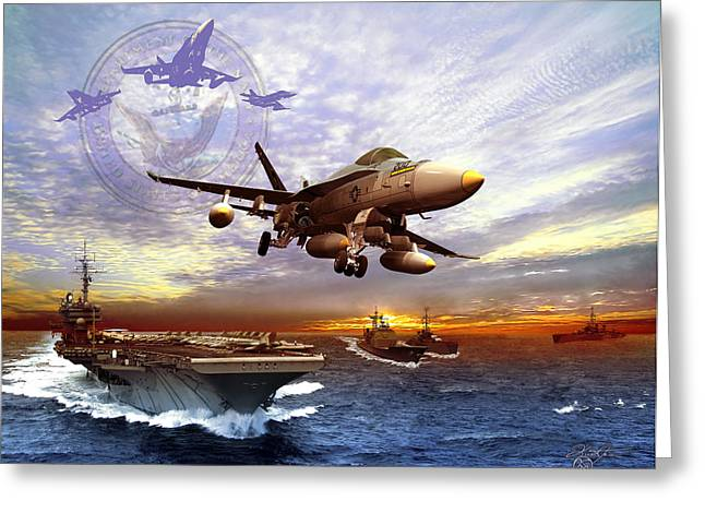 F-18 Greeting Cards - U.S. Navy Greeting Card by Kurt Miller