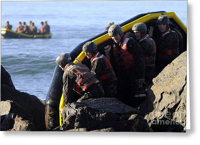 Inflatable Boats Greeting Cards - U.s. Navy Seal Candidates Participate Greeting Card by Stocktrek Images