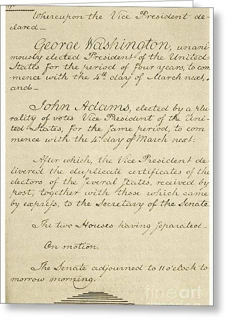 Us Election Greeting Cards - Us Senate Journal, 1794 Greeting Card by Photo Researchers