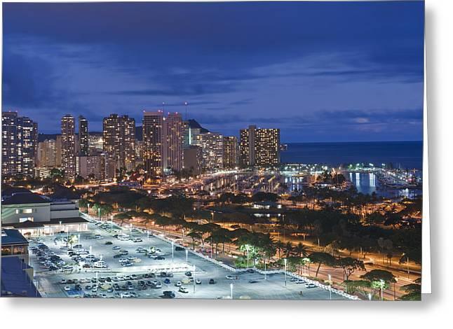 Usa Hi Honoluluwaikiki Skyline Greeting Card by Rob Tilley