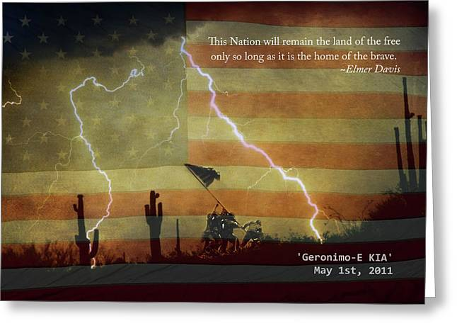 Kia Greeting Cards - USA Patriotic Operation Geronimo-E KIA Greeting Card by James BO  Insogna