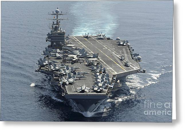 The Higher Planes Greeting Cards - Uss Abraham Lincoln Transits The Indian Greeting Card by Stocktrek Images