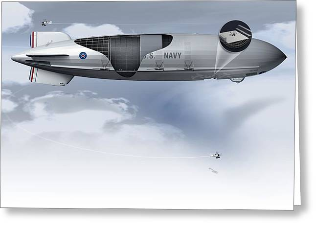 Helium Greeting Cards - Uss Macon, Artwork Greeting Card by Claus Lunau