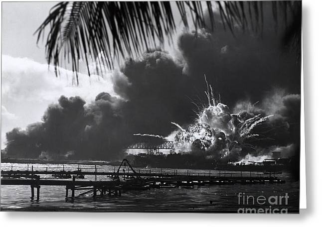 Wells Harbor Greeting Cards - Uss Shaw, Pearl Harbor, December 7, 1941 Greeting Card by Photo Researchers