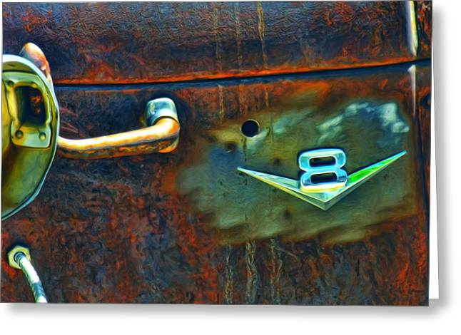 Rusted Cars Mixed Media Greeting Cards - V8 Greeting Card by Adam Vance