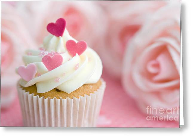 Frosting Greeting Cards - Valentine cupcake Greeting Card by Ruth Black