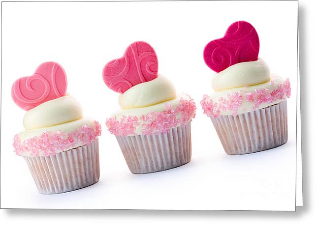 Fondant Greeting Cards - Valentine cupcakes Greeting Card by Ruth Black