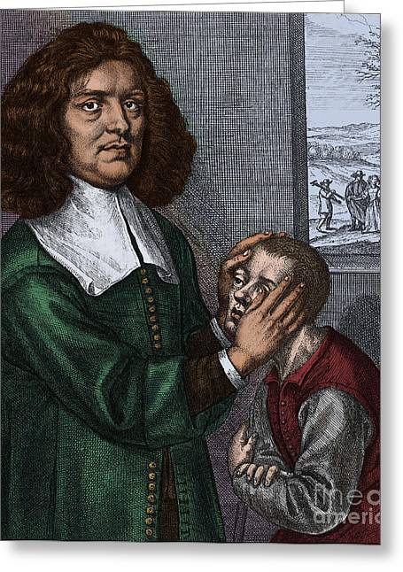 1628 Greeting Cards - Valentine Greatrakes, Irish Faith Healer Greeting Card by Science Source