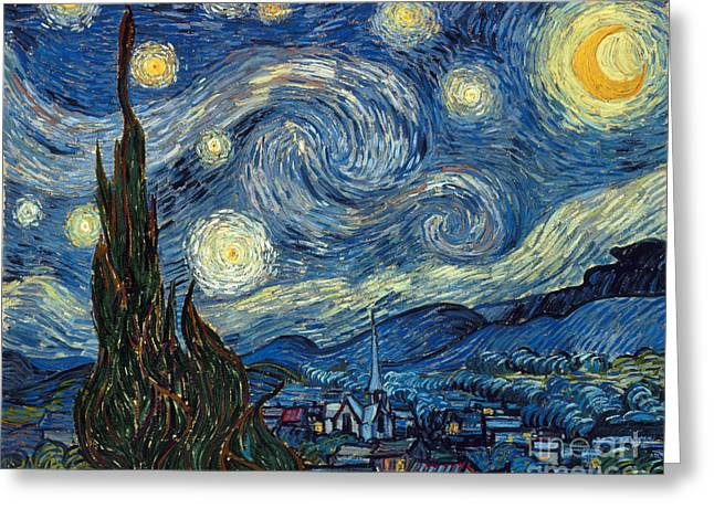 Aod Greeting Cards - Van Gogh Starry Night Greeting Card by Granger