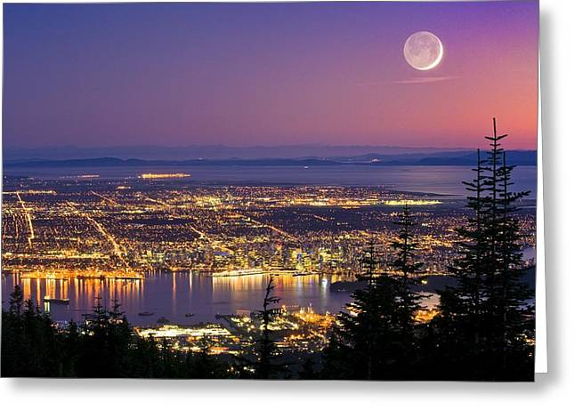 North Vancouver Greeting Cards - Vancouver At Night, Time-exposure Image Greeting Card by David Nunuk