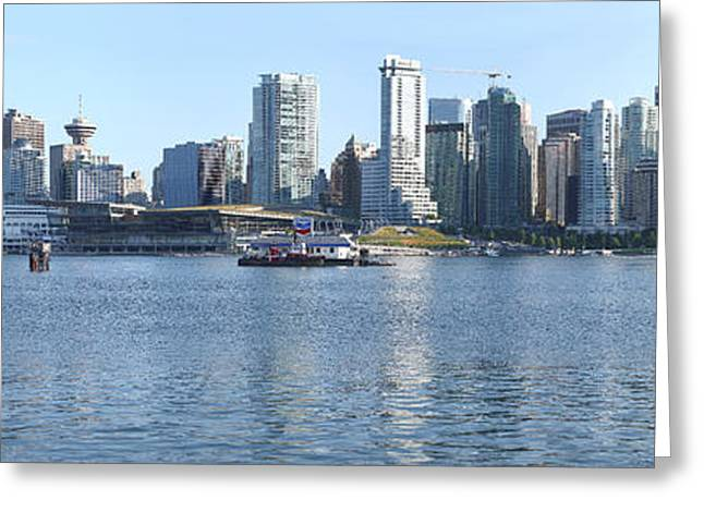 Vancouver Skyline Panorama Greeting Cards - Vancouver BC skyline Canada  Place panorama Canada.  Greeting Card by Gino Rigucci