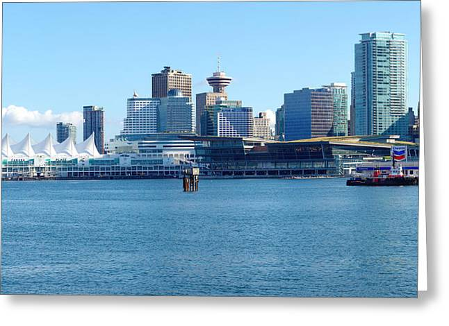 Vancouver Skyline Panorama Greeting Cards - Vancouver BC waterfront skyline panorama. Greeting Card by Gino Rigucci
