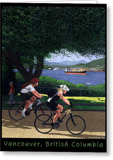 Burrard Inlet Greeting Cards - Vancouver Bike Ride Poster Greeting Card by Neil Woodward