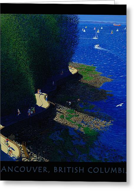 Seawall Greeting Cards - Vancouver North Seawall Poster  Greeting Card by Neil Woodward
