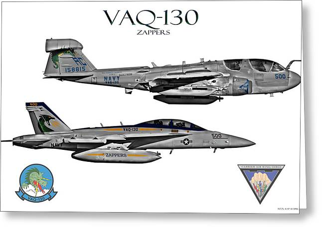 Fa-18 Greeting Cards - VAQ-130 Prowler and Growler Greeting Card by Clay Greunke