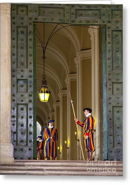 Swiss Photographs Greeting Cards - Vatican Entrance Greeting Card by Brian Jannsen