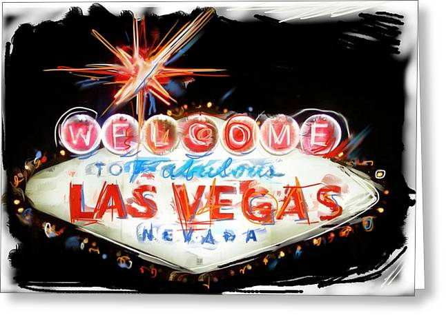 Las Vegas Mixed Media Greeting Cards - Vegas Baby Greeting Card by Russell Pierce